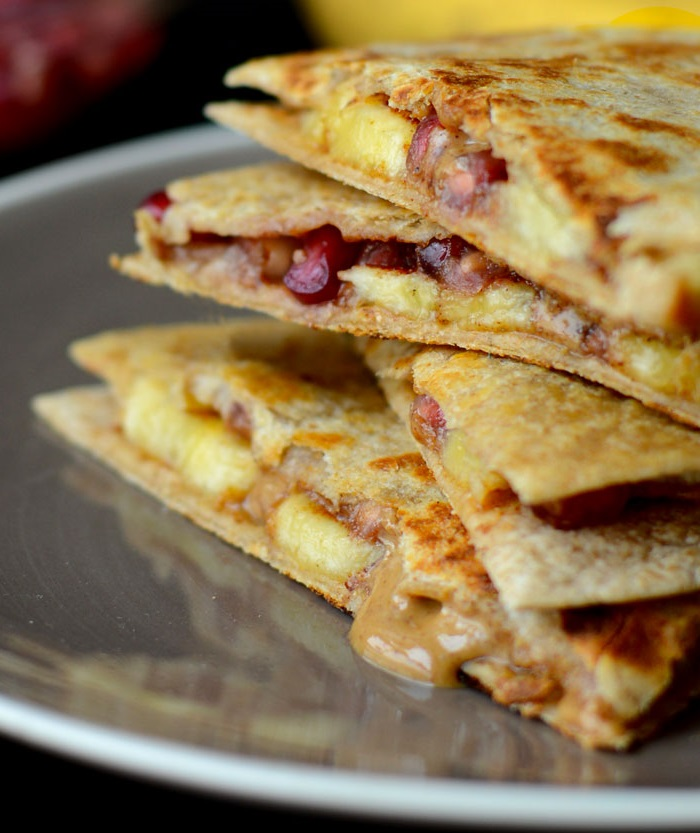 pomegranate banana quesadillas with almond butter