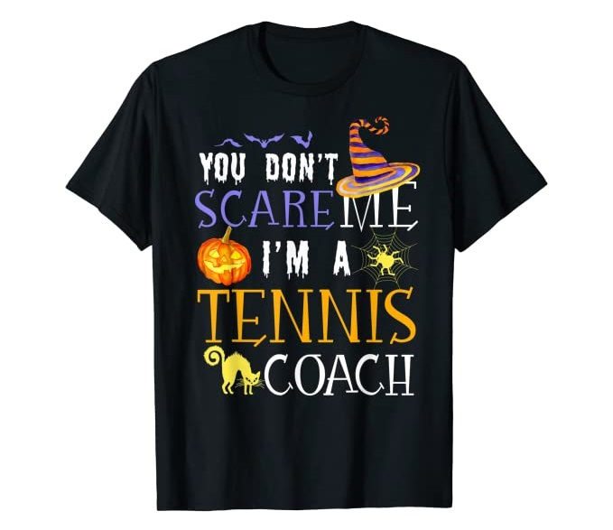 funny tennis halloween t-shirt for coaches