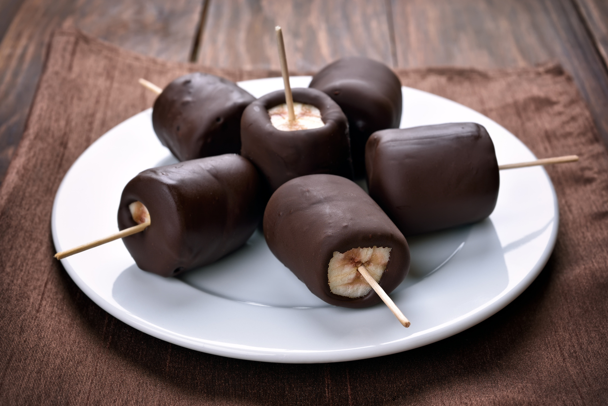 dark chocolate covered banana peanut butter bites
