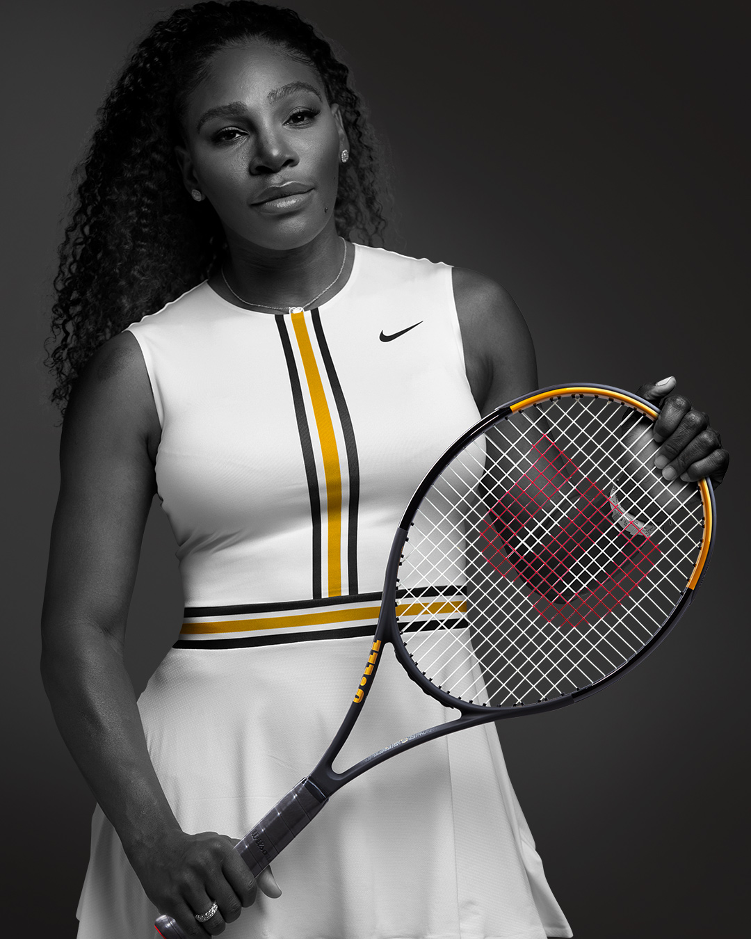 Serena Williams with the new Blade SW102 Autograph Racket