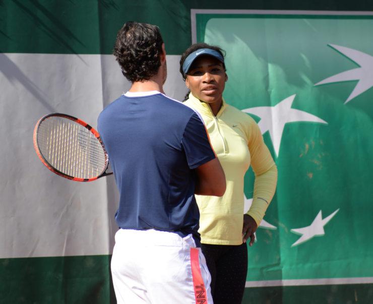Serena Williams with coach, Patrick Mouratoglou