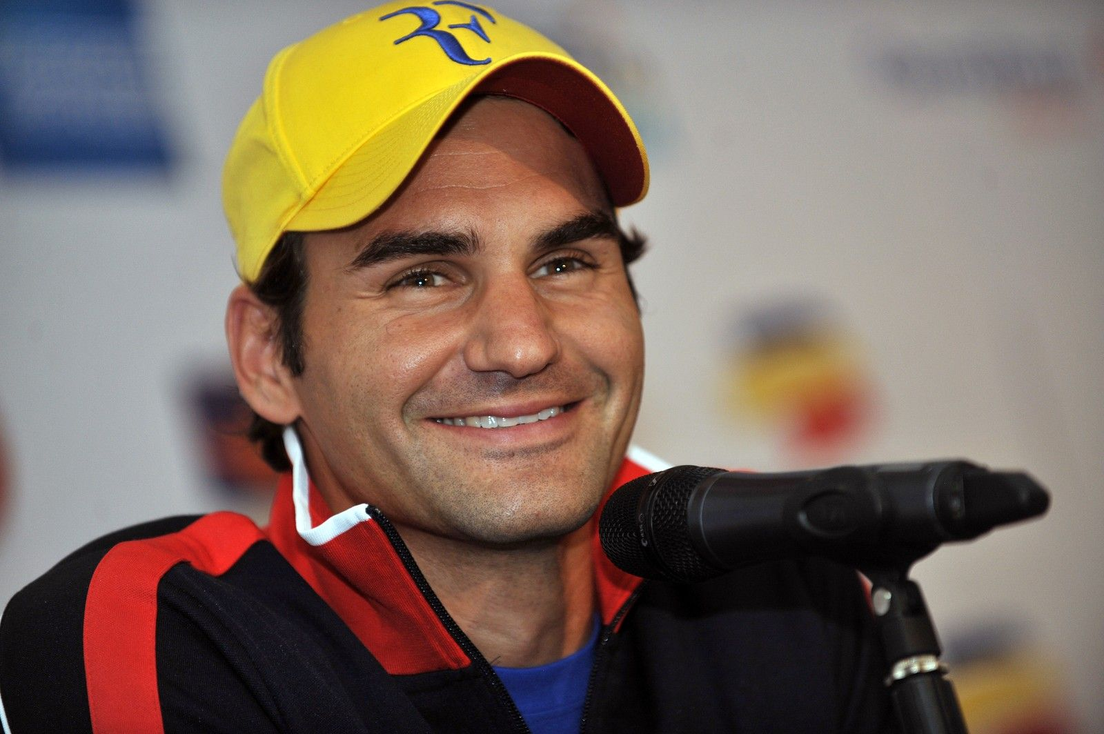Roger Federer wearing his iconic 'RF' logo cap