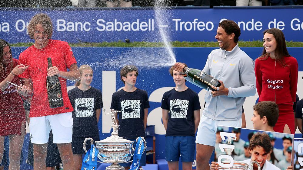 Rafael Nadal sprays Stefanos Tsitsipas with champagne